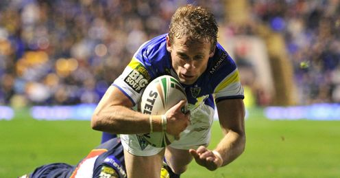 Brett Hodgson Warrington Wolves diving over for a try against St Helens
