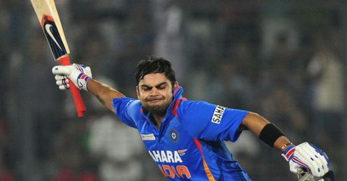 Virat Kohli India celebrating reaching three figures against Pakistan 2012 Asia Cup