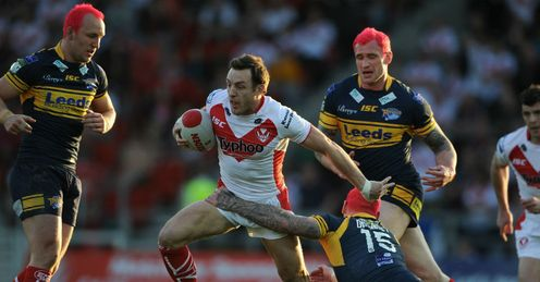 James Roby St Helens running against Leeds Rhinos