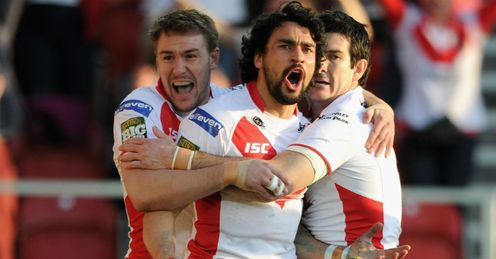 Ade Gardner St Helens celebrating a try against Leeds Rhinos