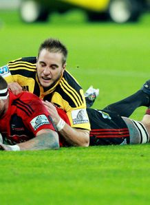 Kieran Read of the Crusaders scores a try
