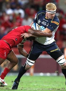 Brumbies forward Peter Kimlin being tackled