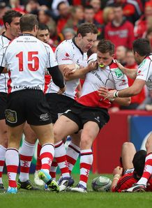 Craig Gilroy congratulated after scoring for Ulster