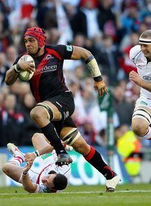 Netani Talei of Edinburgh makes a break v Ulster