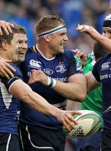Leinster celebrating a try in their Heineken Cup win over Cardiff Blues