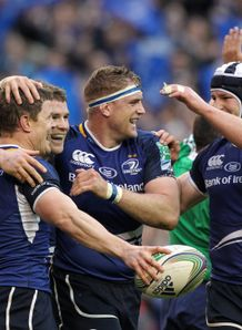Brian ODriscoll left celebrates with Leinster team-mates v Cardiff Blues Heineken Cup quarter-final Aviva Stadium Dublin Apr 2012
