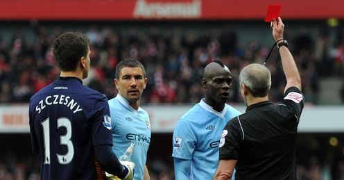 Arsenal v Manchester City Mario Balotelli red card