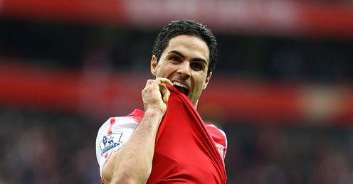 Mikel Arteta goal celeb Arsenal v Manchester City