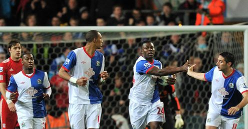 Blackburn v Liverpool Yakubu second goal celeb