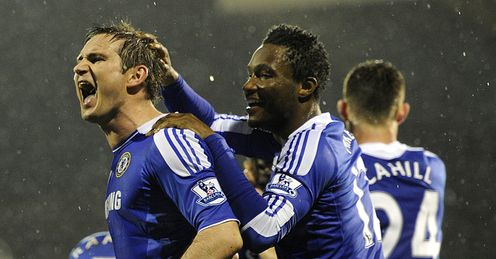 Lampard: celebrates his 150th goal