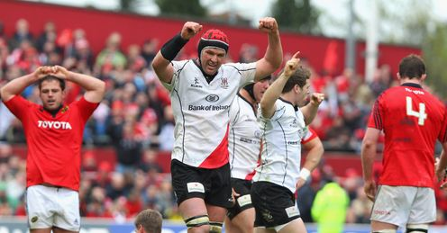 Johann Muller the Ulster captain celebrates his teams victory v Munster