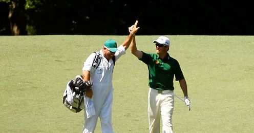 Louis Oosthuizen: High-fives allround after the albatross