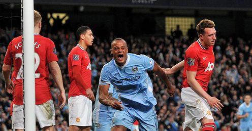 Vincent Kompany celebrates Manchester City v United