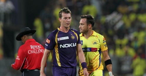Brett Lee and Faf du Plessis Chennai Super Kings v Kolkata Knight Riders IPL MA Chidambaram Stadium Chennai Apr 2012