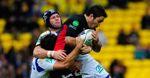 Brad Barritt Saracens stopped by two Clermont tacklers Heineken Cup