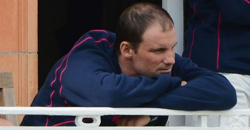Andrew Strauss Middlesex sitting on the balcony after being dismissed against Durham Lords