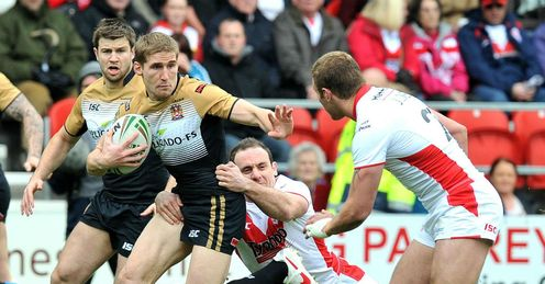Sam Tomkins Wigan Warriors running in the Good Friday derby against St Helens
