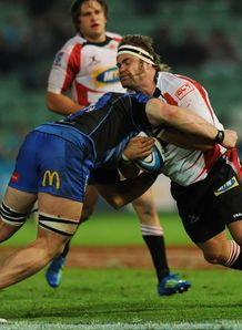 Martin Bezuidenhout taking contact for Lions