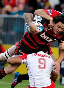 Zac Guildford sandwiched for Crusaders