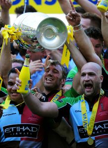 Harlequins celebrates Premiership title Twickenham