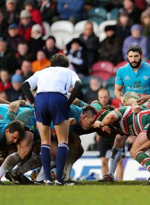 scrum during the Heineken Cup match between Leicester Tigers and Aironi
