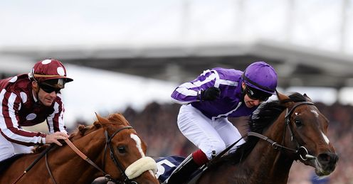 Joseph O'Brien on Camelot (R) wins The 2000 Guineas Stakes from French Fifteen at Newmarket last month