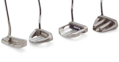 Some of the putter heads of Rife's new belly putter range