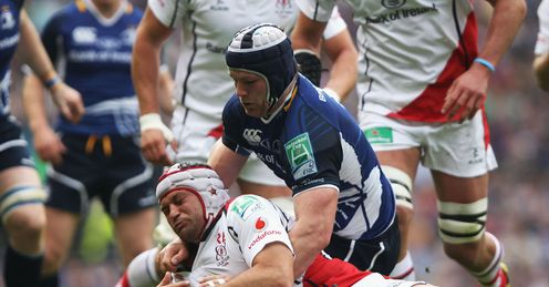 Rory Best of Ulster is tackled by Sean O Brien of Leinster