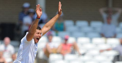 Bresnan: now has nine wickets in the series - the same as Anderson - but five behind Broad