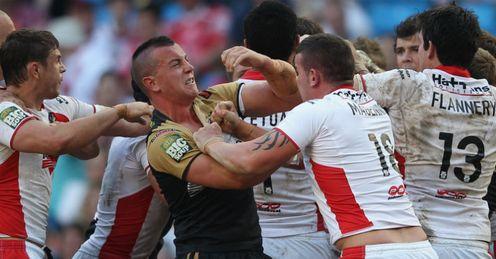 Wigan v St Helens mass brawl