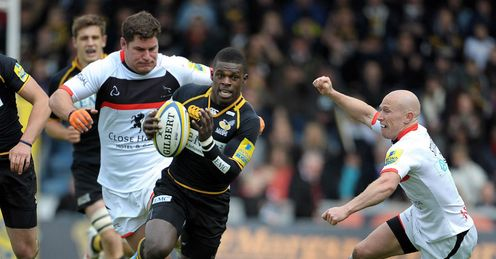 Christian Wade Wasps running through against Newcastle Aviva Premiership