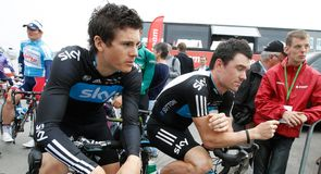 Ben Swift and Chris Sutton relax ahead of the start of the third road stage