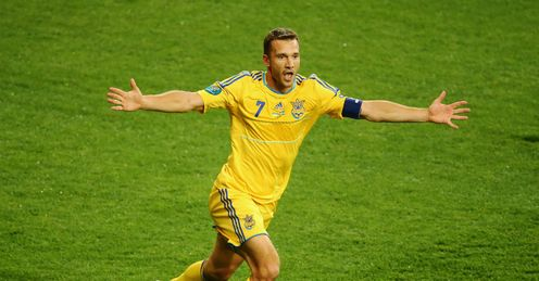 Andriy Shevchenko Celebrates his second goal Ukraine vs Sweden Olympic Stadium