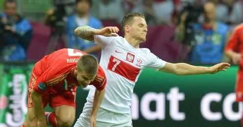 Euro 2012 Poland Russia Igor Denisov falls under Eugen Polanski