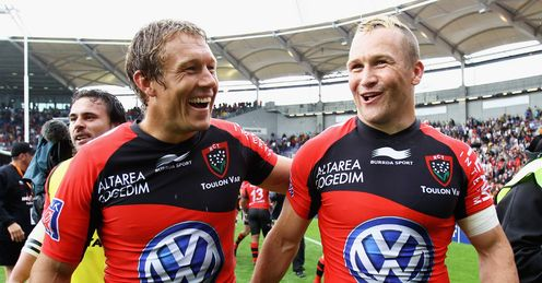 Jonny Wilkinson of Toulon celebrates with Matt Gitteau Top14 semi 2012