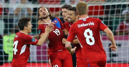Petr Jiracek celebrates Czech Republic v Poland
