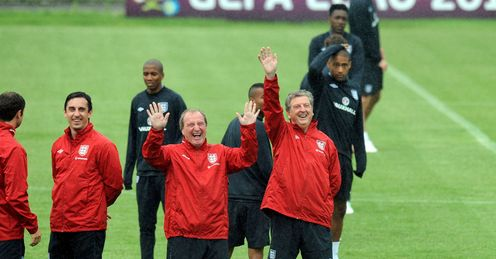 Good spirits: Jeff found Roy and his backroom staff in relaxed mood in Kiev