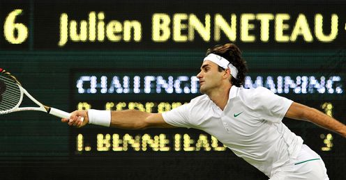 At full stretch: Federer had to dig deep before seeing off Benneteau in five sets