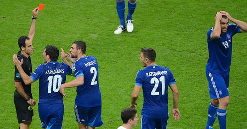 Sokratis Papastathopoulos Red Card Poland Greece Euro 2012 Group A