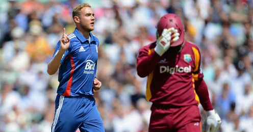 Stuart Broad England celebrating the wicket of Dwayne Smith during second one-dayer against the West Indies