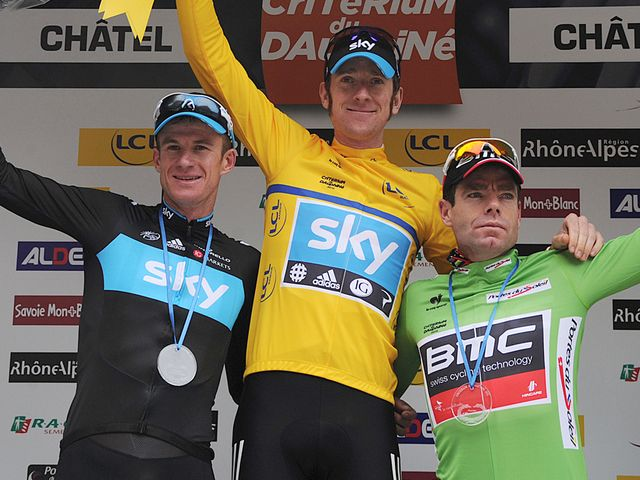 Wiggins: Joined on the podium by team-mate Rogers