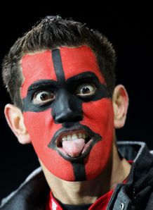 Crusaders fan tongue out