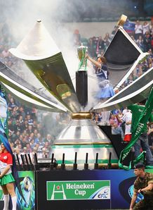 The Heineken Cup trophy is unveiled during the Heineken Cup Final