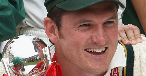 Shining achievement: Smith celebrates at the Oval after South Africa seal a  2-1 Series win