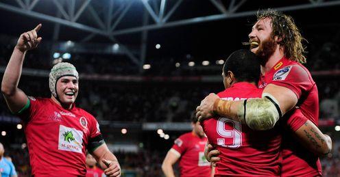 Reds celebrate v Waratahs