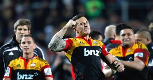 Sonny Bill Williams of the Chiefs celebrates their win against the Crusaders