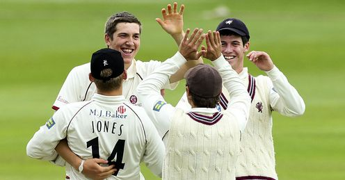 Craig Overton Somerset celebrating taking a wicket against South Africa Taunton
