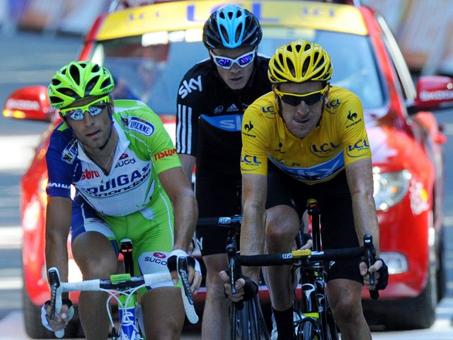 Wiggins and Froome cross the line with Nibali