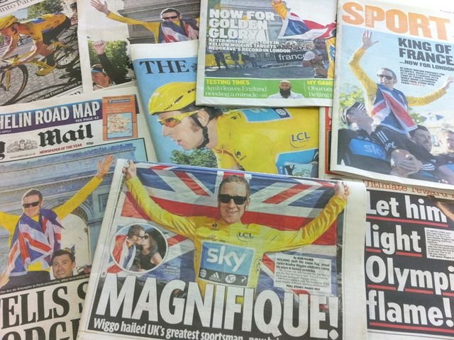 Wiggins dominated front and back pages alike