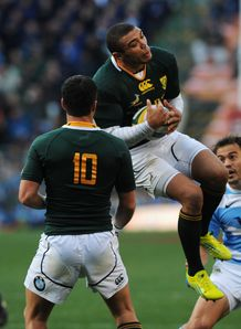 Bryan Habana in the air for Springboks